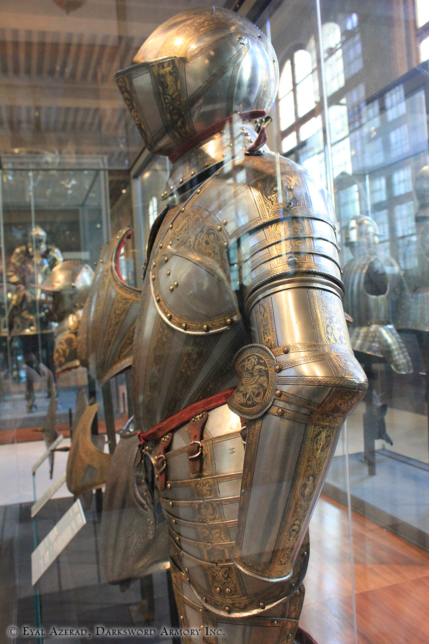 medieval armor statue dress side look