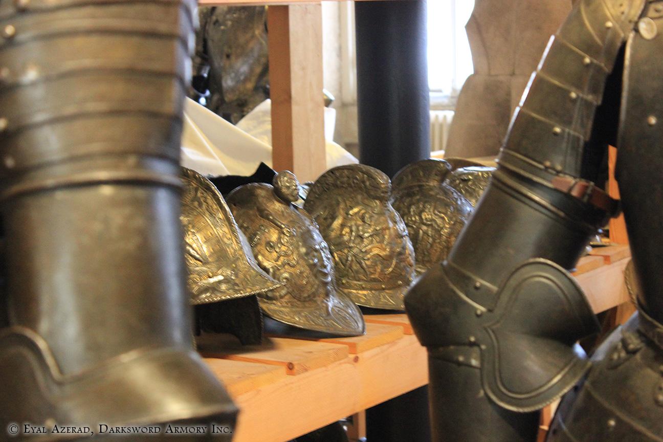 full line of medieval helmets