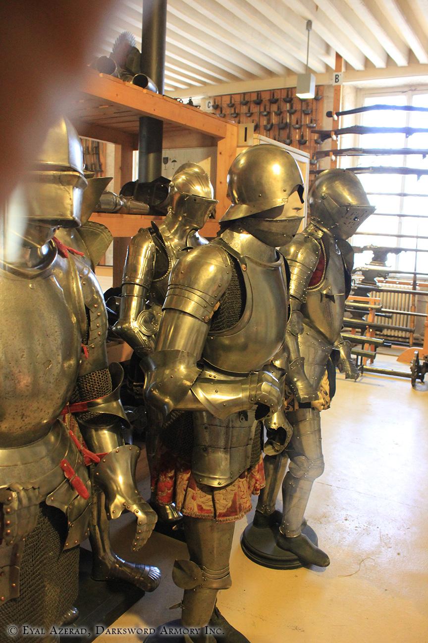 pair of medieval helmets