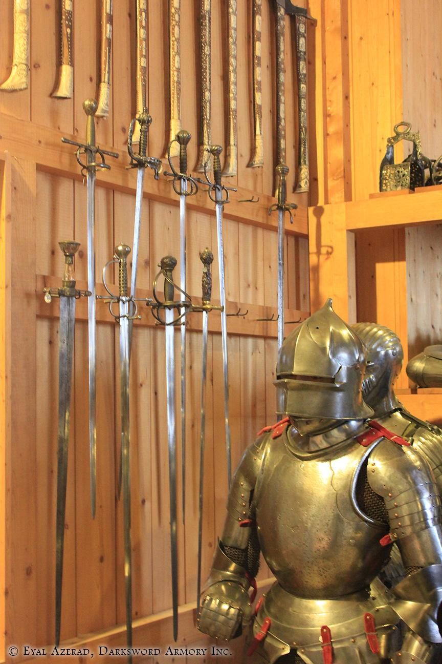 knight helmet and Swords