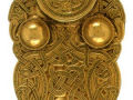 A gold buckle found in the Sutton Hoo excavations Angle Saxon 6th or 7th century Sutton Hoo Woodbridge Suffolk