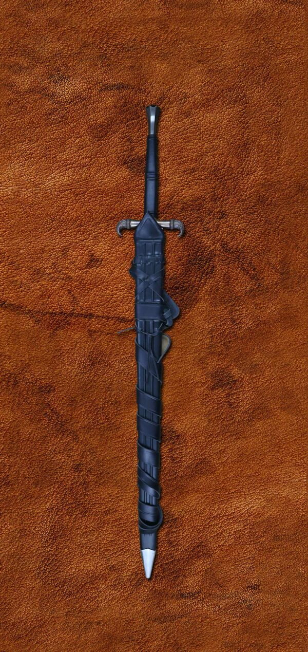 erland-sword-folded-steel-blade-forged-sword-medieval-weapon-darksword-armory-in-scabbard